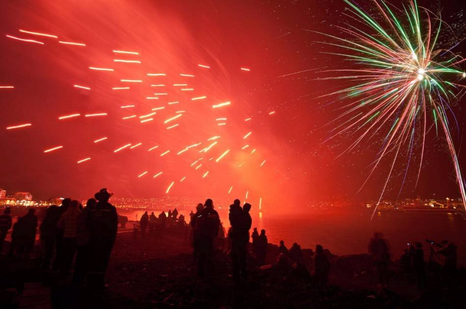Bonfire and Fireworks Show on New Year's Eve in Reykjavik