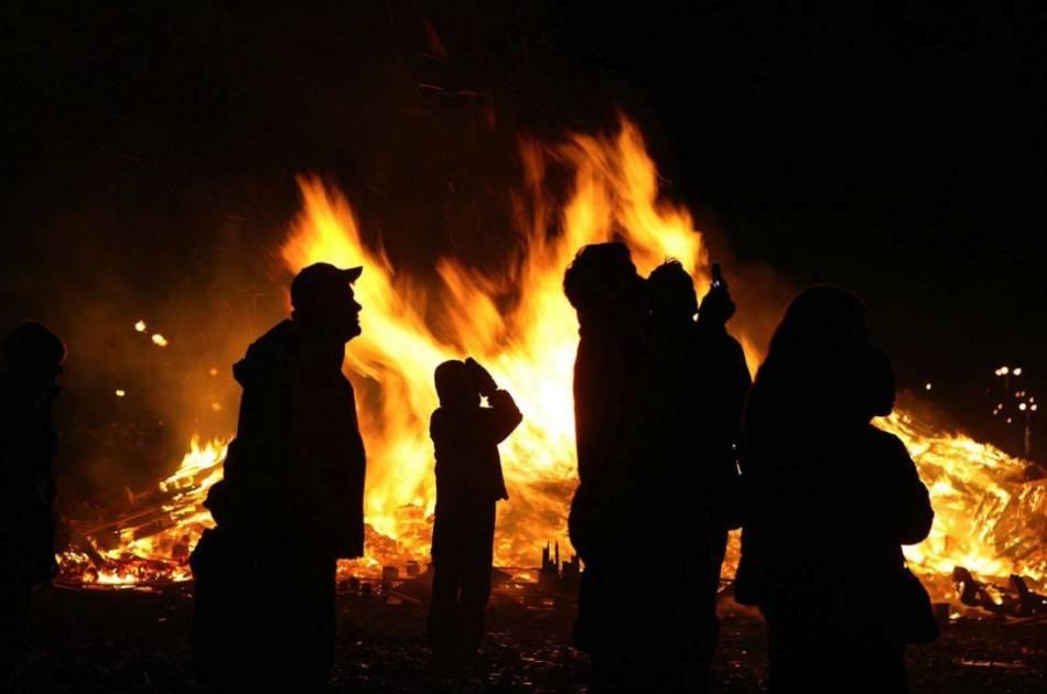 Bonfire on New Year's Eve in Reykjavik