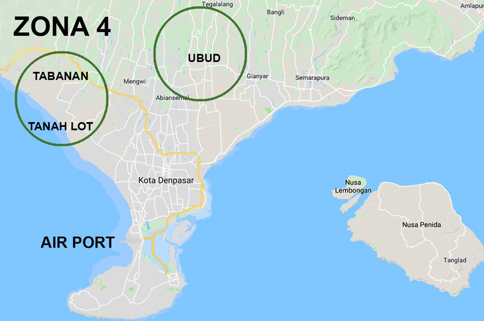 Bali Airport Pick up and Transfer to Zone 4