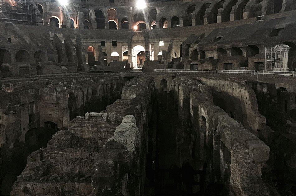 Colosseum and Ancient Rome Under the Moon