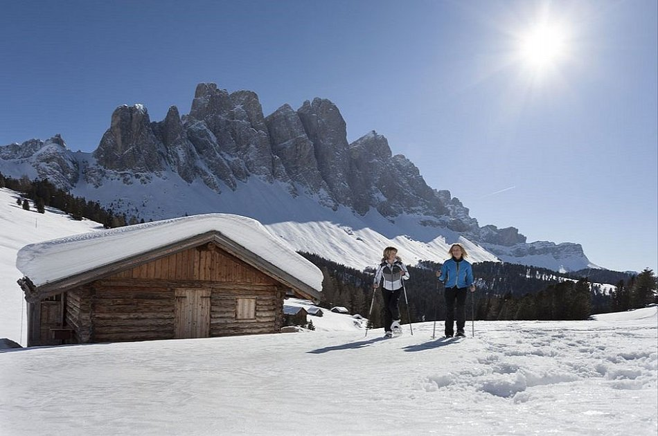 Hike with Snowshoes in Dolomites Wonderful Funes Valley from Bolzano