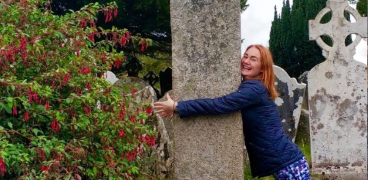Red Head Woman, Flowers, Tree, Gravestone, Ireland